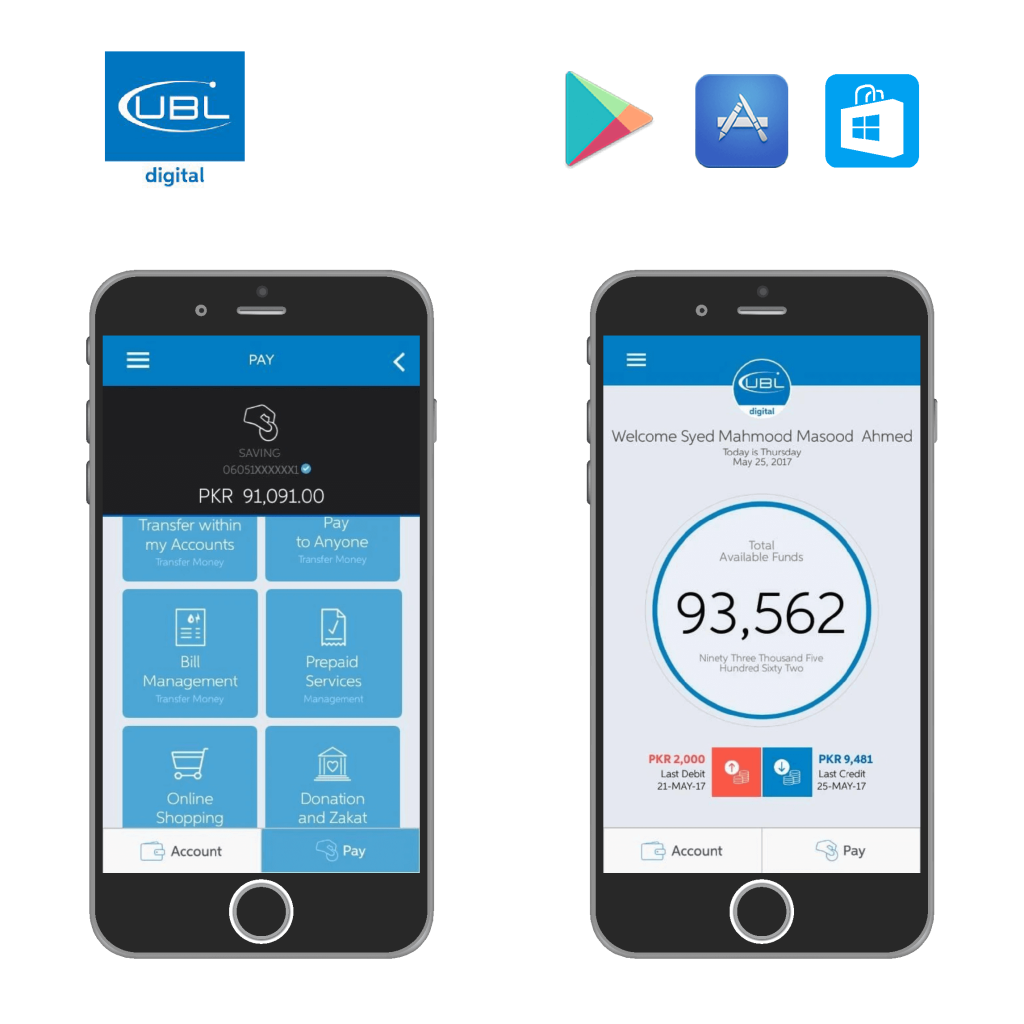 UBL, mobile application, web application